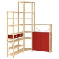 IVAR Corner shelf unit w cabinet/drawers - pine, red - IKEA - IKEA – IVAR Corner shelf unit w cabinet/drawers pine, red - Ikea Ivar, Storage Spaces, Shelves, Wooden Shelves, Shelving Unit, Corner Shelf Unit, Foldable Table, Ikea, Cabinet Drawers