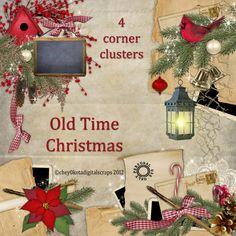 Old Time Christmas Corner Cluster Set - Digital Scrapbooking