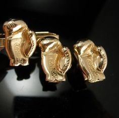 Vintage Boxing GLOVES Cufflinks GOLDEN Set athletic sports fan gift Men's novelty Jewelry martial arts boxer manager promoter gift