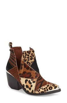 Free shipping and returns on Jeffrey Campbell 'Orwell' Pointy Toe Ankle Boot (Women) at Nordstrom.com. Bold animal patterns and patchwork composition make this Western-inspired ankle boot a statement-making style standout, with etched silvertone hardware and a dramatically notched toplinecompleting the look.