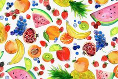 Trendy Ideas For Fruit Basket Illustration Art Prints Cute Wallpapers, Wallpaper Backgrounds, Iphone Wallpaper, Fruit Illustration, Food Illustrations, Wallpaper Telephone, Watercolor Fruit, Summer Wallpaper, Ipad Art
