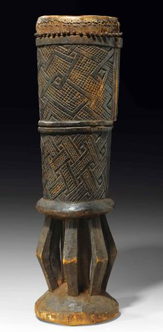 Africa | Drum from the Kuba people of DR Congo | Wood and hide
