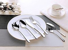 Flatware Set – 24 piece Stainless Steel Silverware with 4 Extra Serving Set included – Hornbit Dinnerware Cutleries – Quality Type 304 Stainless Steel – Continental Size (Signature Collections, 24) Review
