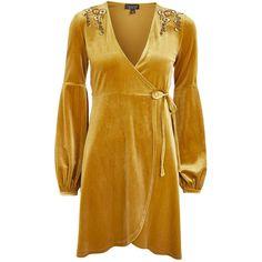 Topshop Embroidered Velvet Wrap Dress (€22) ❤ liked on Polyvore featuring dresses, velvet, vestidos, ochre, embroidery dresses, mini dress, mini wrap dress, brown velvet dress and wrap dress