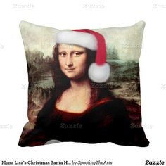 Mona Lisa s Christmas Santa Hat Pillows by #SpoofingTheArts #gravityx9 -