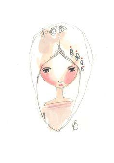 Whimsical Girl illustration Original Artwork by Coramantic on Etsy, £10.00