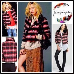 """FREE PEOPLE Plaid Military Jacket RETAIL PRICE: $248 💟 NEW WITH TAGS 💟  FREE PEOPLE Military Red Black Plaid Bomber Jacket Varsity Baseball * Front pockets & double breasted silver military button closure * Incredibly soft * Long sleeves & contrasting collar  * About 24""""  long * Allover plaid in black, red, & Ivory    Fabric: 70% polyester & 30% mohair wool Fully lined, cotton-polyester Color: Black Plaid Combo #FP9900  🚫No Trades🚫 ✅ Offers Considered*/Bundle Discounts✅ *Please use the…"""