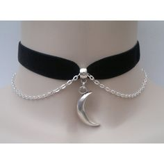 Solid Tibetan Silver Crescent MOON Charm With CHAIN 16mm BLACK Velvet... ($7.85) ❤ liked on Polyvore