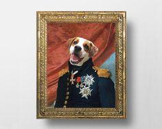 Custom Royal Pet Portrait From Your Photos - Regal Pet Portrait - Digital File - Size: 16x20inch, 40x50cm