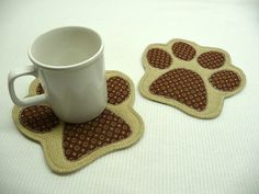 Paw Print Mug Rugs  Choose Colors  Set of 2  Mug Rugs