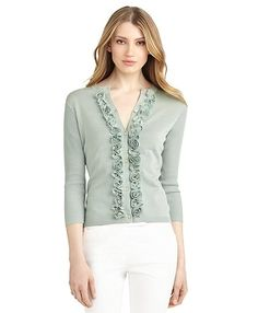 Silk and Cotton Rose Cardigan - Brooks Brothers