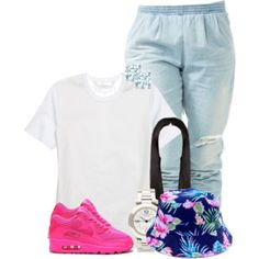 White tshirt light joggers loud shoes and bucket hat