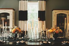 black and gold halloween tablescape