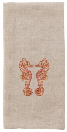 10% of profits on all items from this collection will be donated to the Ocean Conservancy. Bring these seahorse sweethearts home to your seaside collection! Embroidered on 100% natural linen fabric. M