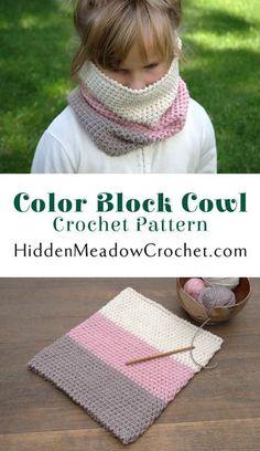Colorblock Cowl Crochet Pattern available at HiddenMeadowCrochet.com