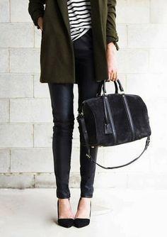 Olive green & black #teaching_outfit #teacher #work_attire
