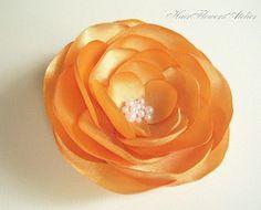 Orange Hair Flower Orange Hair Clip Orange by HairFlowersAtelier