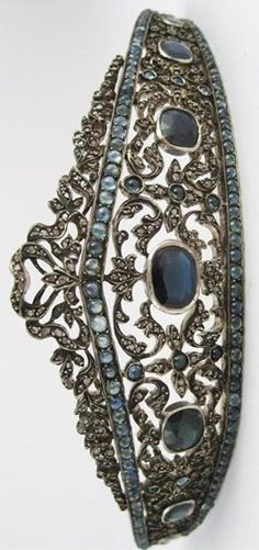 Early 19th-Century silver gilt, diamond and sapphire tiara
