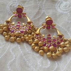 Ethnic baalis Handcrafted in with semiprecious kemp stones and ghungroo latkans Jewelry Design Earrings, Gold Earrings Designs, Ruby Jewelry, India Jewelry, Gold Jewellery Design, Gold Jewelry, Silver Earrings, Peacock Jewelry, Jade Earrings