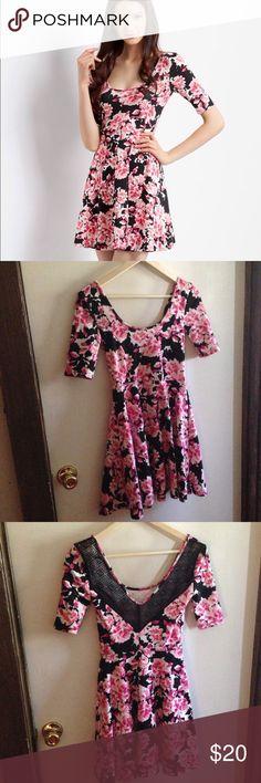 Aeropostale Floral Skater Dress Bethany Mota Skater Dress. Xsmall. EUC. Back of dress has crocheted look. Pretty. Dresses