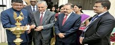 Chief Justice of India T S  Thakur and Union Ministers Ravi Shankar Prasad and Dr Jitendra Singh lighting the traditional lamp to inaugurate the All India Conference of Central Administrative Tribunal (CAT) at Vigyan Bhawan New Delhi on Saturday.