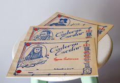 Set of 3 Vintage Portuguese School Notebooks