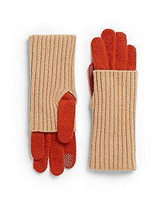 Ribbed Knit Layered-Look Gloves
