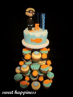 Under the sea birthday cake and ocean diver Visit our facebook page: https://www.facebook.com/pages/Sweet-Happiness-cakes-cupcakes-lolly-buffets/565164206836394