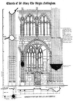 Architectural Plans, Elevation of north east nave arch and clerestory.Architecture Plan Church Plan, Plan of St Mary's church, Nottingham. Architecture Sketch Book Designs , Inspiration for Architects, Designers, Drawings for CAPI Art Portfolio Ideas Students