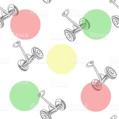 Hand drawn self balancing hoverboard scooters outline and colorful circles background symbolizing traffic lights. Vector illustration seamless pattern royalty-free stock vector art
