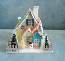 Large Nostalgic Putz Style Glitter Christmas House Trees Snowman - Lighted