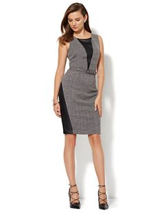 Shop 7th Avenue Design Studio - Faux-Leather Accent Tweed Sheath Dress. Find your perfect size online at the best price at New York & Company.