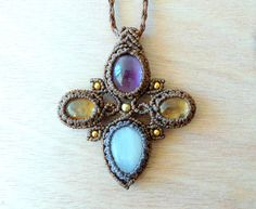 Macrame necklace Moonstone Amethyst and by theStrangeWilderness