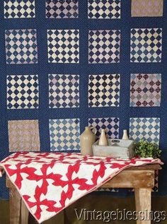 Items for sale by vintageblessings Old Quilts, Antique Quilts, Vintage Quilts, Quilt Display, Two Color Quilts, Primitive Quilts, Calico Fabric, Pink Doll, Quilts For Sale