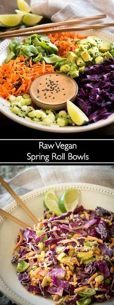 Raw Vegan Spring Roll Bowls at Rawmazing Raw Vegan Recipes, Vegan Foods, Veggie Recipes, Whole Food Recipes, Vegetarian Recipes, Healthy Recipes, Raw Vegan Dinners, Vegan Cabbage Recipes, Asian Recipes