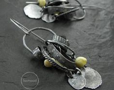 Earrings - raw sterling silver and Baltic amber & black tourmaline - hoop, hook, clip on earwires