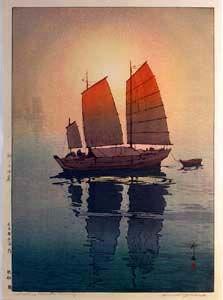 Hiroshi Yoshida (1876-1950) - Sailing boats: Morning
