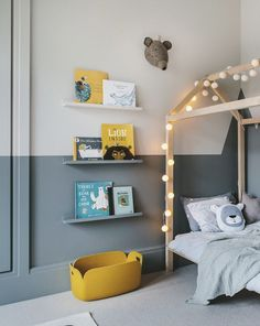 An enchanting boy's room in grey and yellow - Paul & Paula - - A grey and yellow boy's room. A bedroom designed for a little boy called Finn. A stylish room with a playful touch. And the house bed was the starting point. Boy Toddler Bedroom, Toddler Rooms, Kids Bedroom, Bedroom Decor, Lego Bedroom, Childrens Bedrooms Boys, Child Room, Bedroom Furniture, Grey Boys Rooms