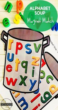 FREE Alphabet Soup Magnet Match Activity FREE Alphabet Soup – alphabet magnet abc matching activity for preschool, kindergarten, and first grade kids Alphabet Magnets, Alphabet Crafts, Alphabet Soup, Printable Alphabet, Free Printable, Abc Soup, Magnetic Letters, Kindergarten Centers, Kindergarten Activities