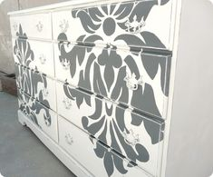 Paint your dresser with a graphic print (you could do this on school-issue furniture, too with decals!)