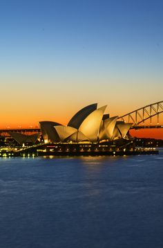 Sunset at the gorgeous Sydney Opera House. One of the most recognisable buildings in the world.