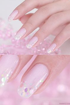 Baby pink and glitter dots.