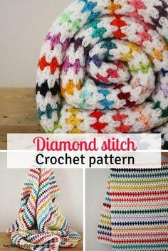 Diamond Stitch Crochet Blanket Free Pattern