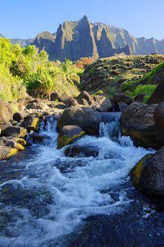 Kalalau valley, Kauai's Na Pali Coast, Hawaii; photo by Kevin Smith