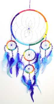 """A wonderfully colorful rainbow dream catcher with variously colored feathers. Dream catcher is 6"""" and hangs 20"""""""