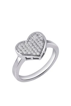 Sterling Silver Micro Pave Simulated Diamond Heart Ring