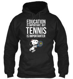 Snoopy Tennis   Tennis Is Importanter Black Sweatshirt Front