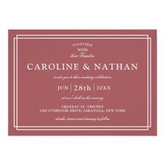 #Cinnamon Rose Classic Simple Elegant Frame Wedding Invitation - #elegant #stylish #giftidea #custom