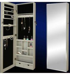 Espejo de pared con joyero. Color: Blanco. Medidas: 120x36x9.5cm. Envíos a toda España