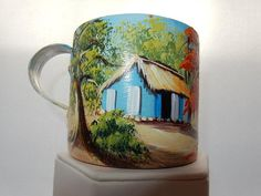 Dominican Country House. Tin Mug, hand painted. Different scenery available. Perfect gift, souvenir or wedding favor.